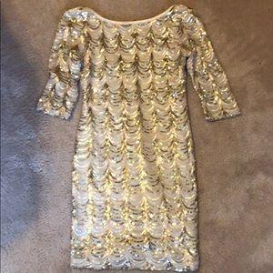 Macy's juniors gold sequin dress party wedding